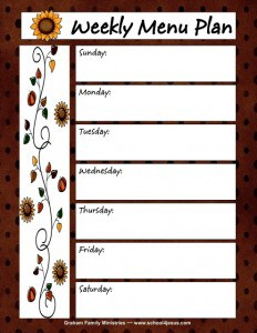 Free Fall Menu Planner and Shopping List