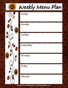 Free Fall Menu Planner and Shopping List