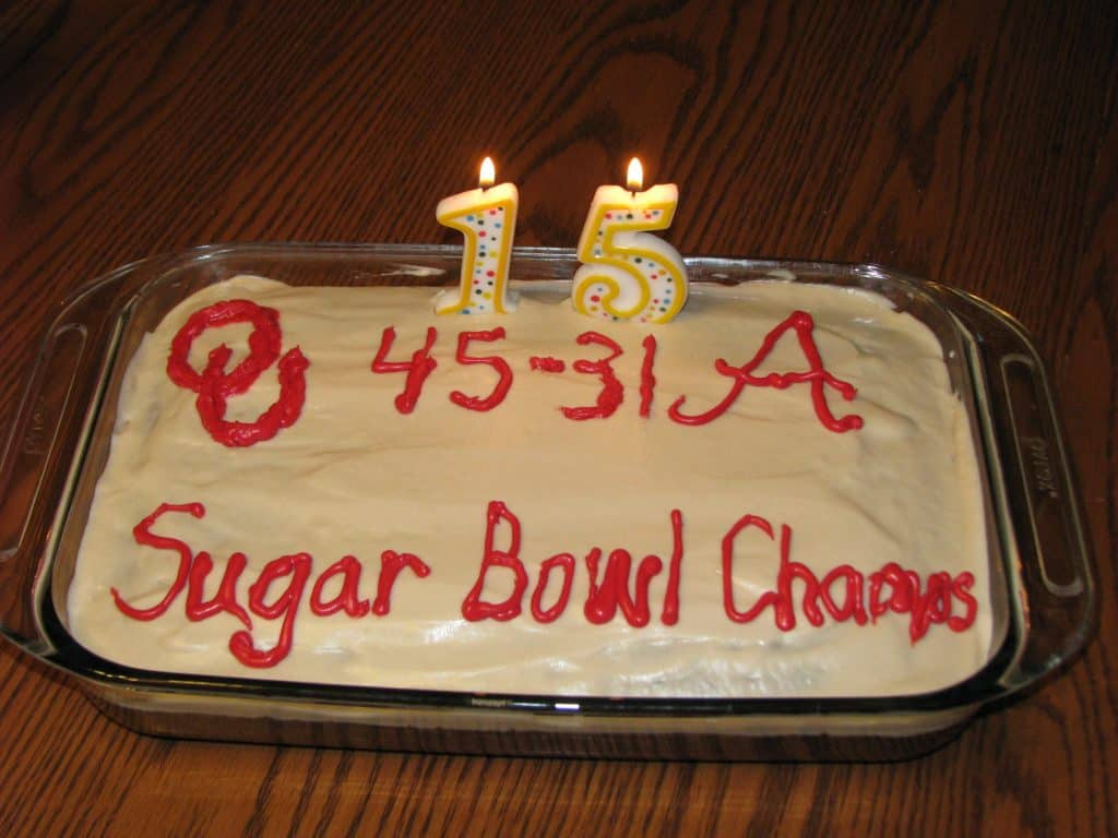 My oldest son wanted to celebrate the OU Sugar Bowl win with his cake this year!