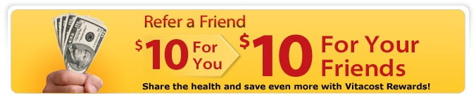 Sign up for a Vitacost account and receive a $10 credit!