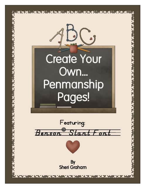 Create Your Own Penmanship Pages - Benson Slant Font