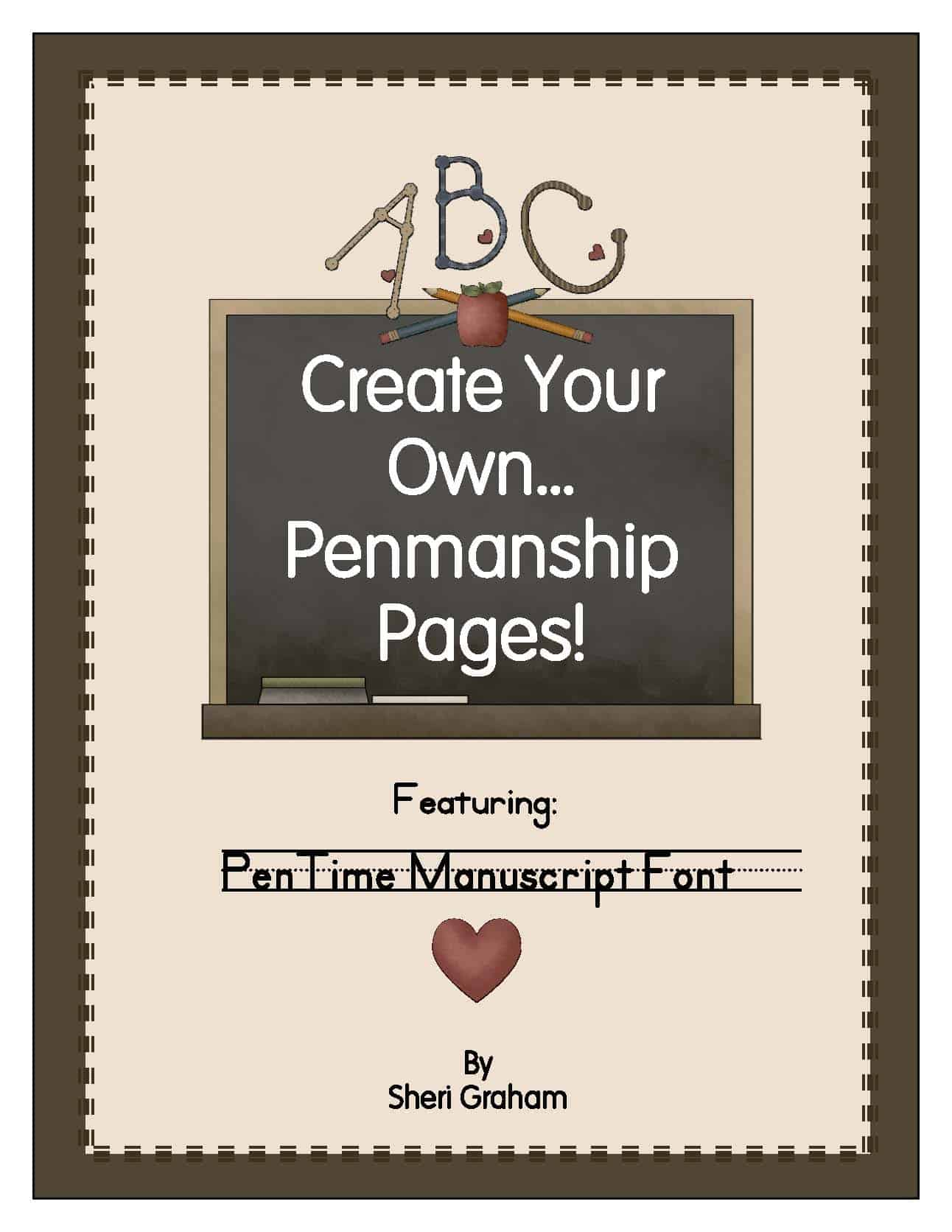 Create Your Own Penmanship Pages - PenTime Manuscript Font