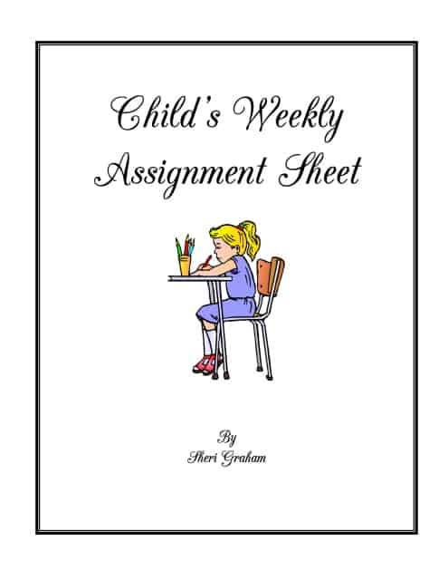 Child's Weekly Assignment Sheet