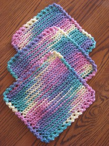 Crocheted Dishcloths (Set of 3) - Multi-Colored