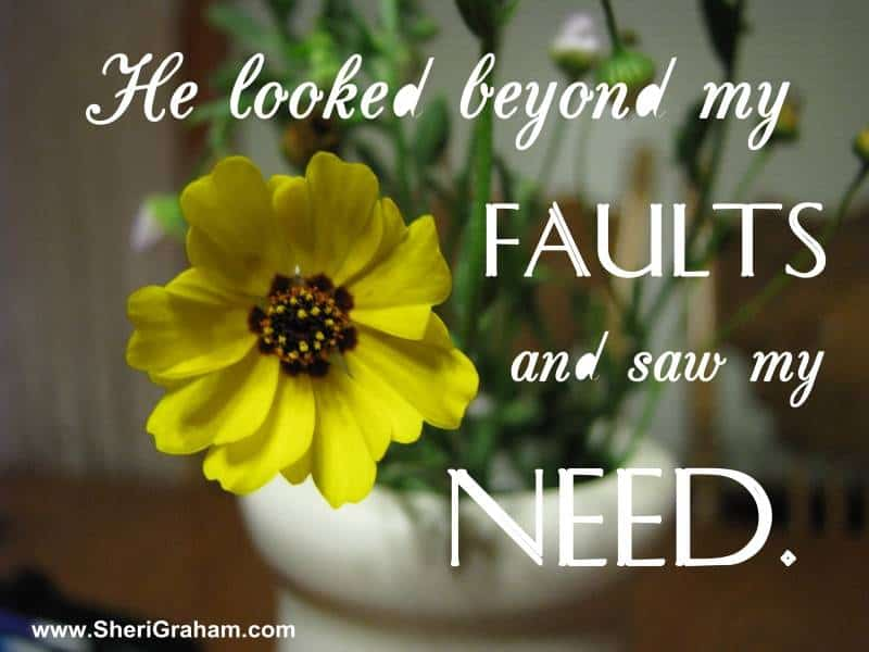 He looked beyond my FAULTS and saw my NEED.