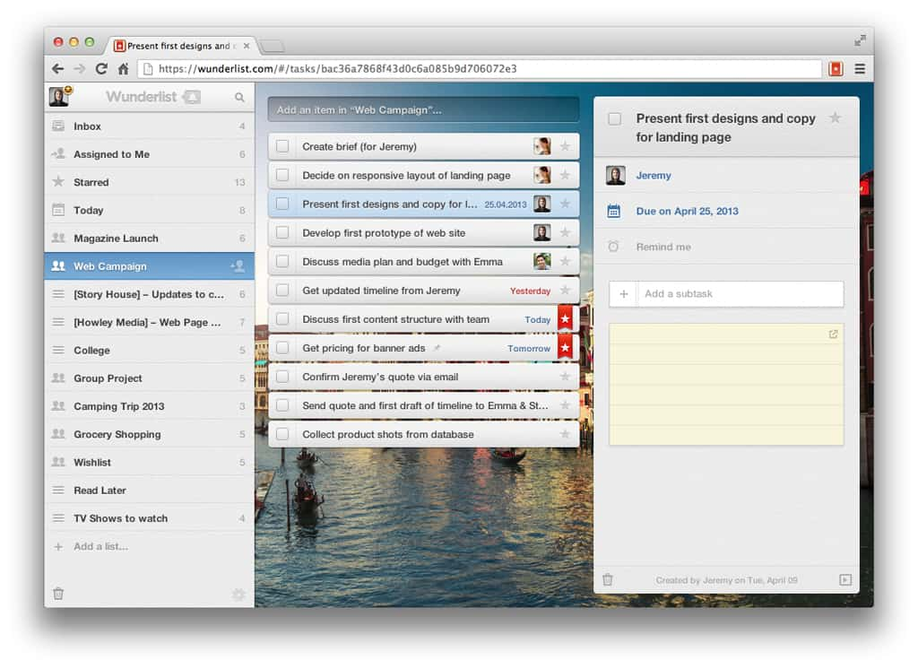 Create a To Do List with Wunderlist!