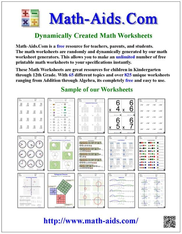 Math Aid Worksheets Math Aids Worksheet Generator Related – Addition Worksheet Generator