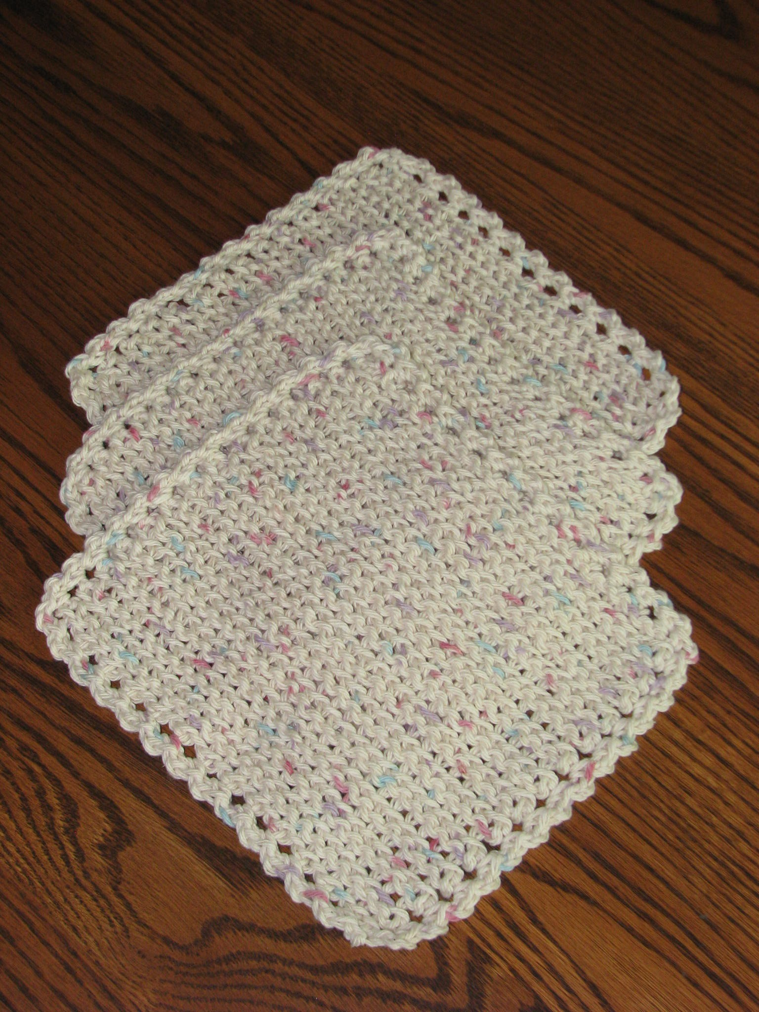 Crocheted Dishcloths (Set of 3) - Cream with Flecks
