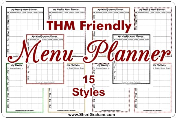 Editable Menu Planner (THM Friendly, 15 Styles) - FREE DOWNLOAD