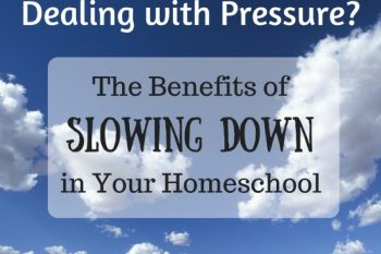 Dealing with Pressure? The Benefits of Slowing Down (in your homeschool)