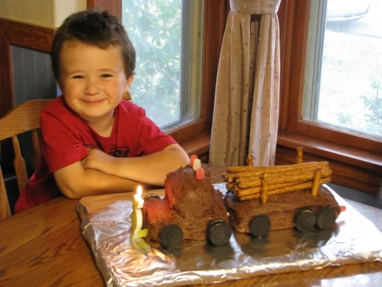 Wesley wanted a log truck cake.