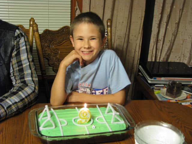 This year Jonathan wanted a soccer field cake!
