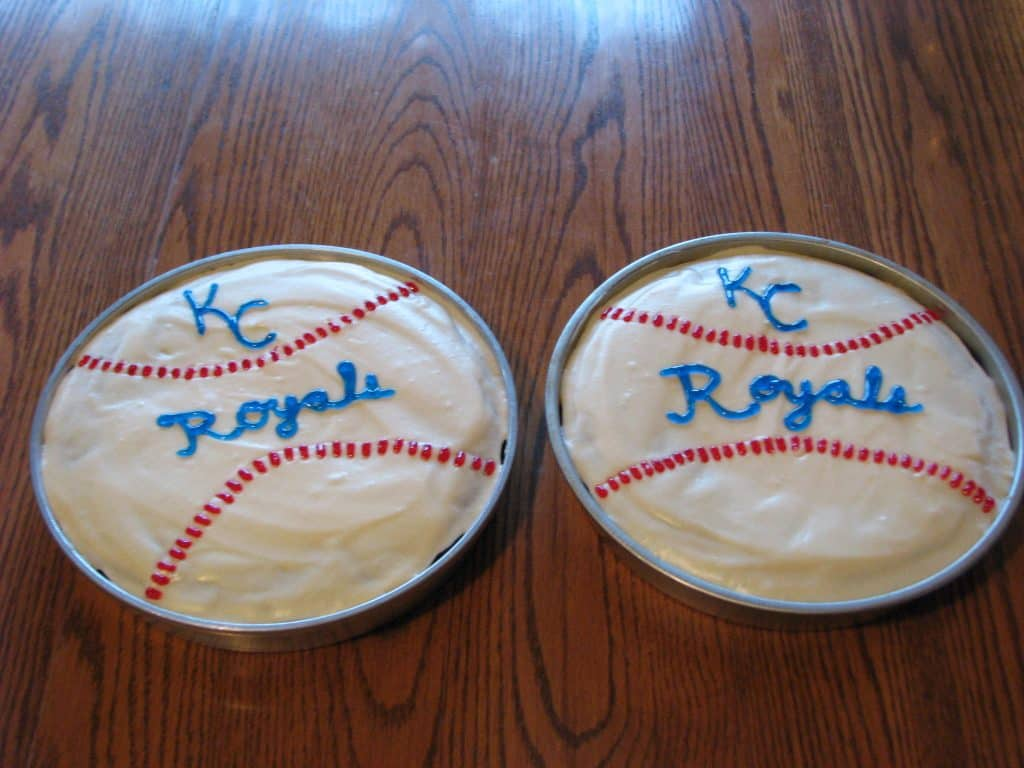 My oldest son wanted baseball cakes with KC Royals on them. They turned out cute!