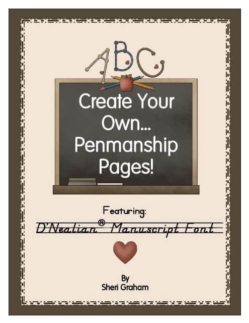 Create Your Own Penmanship Pages - D'Nealian Manuscript Font