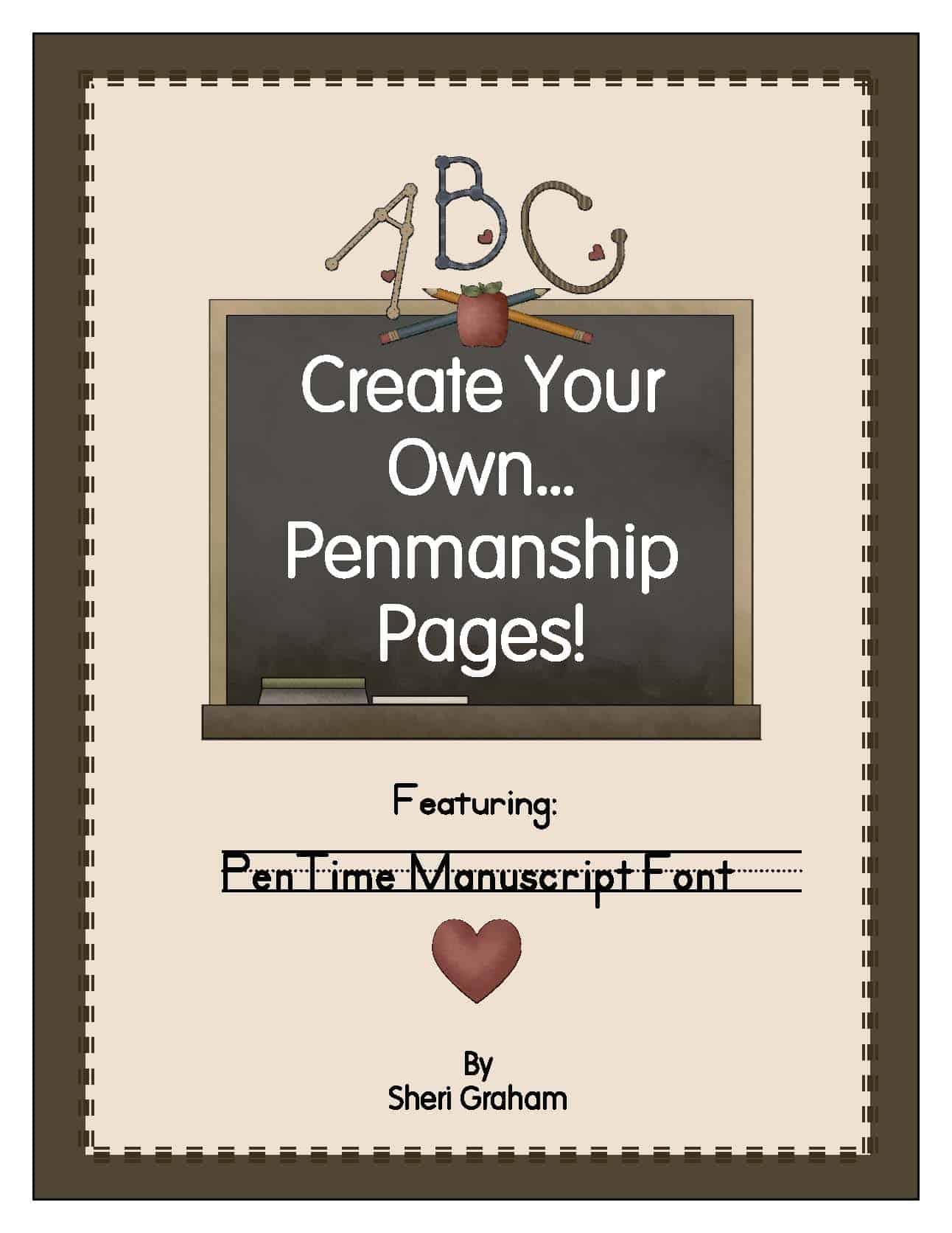 Create Your Own Penmanship Pages - PenTime Manuscript Font
