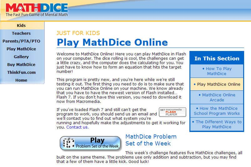 MathDice Online {a fun FREE math game!}