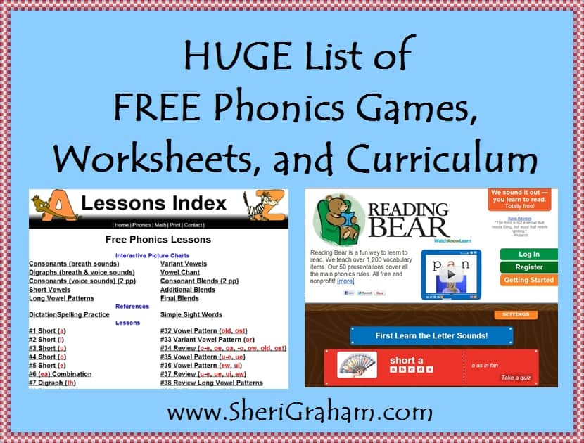 Huge List of FREE Phonics Games, Worksheets, and Curriculum! - Sheri