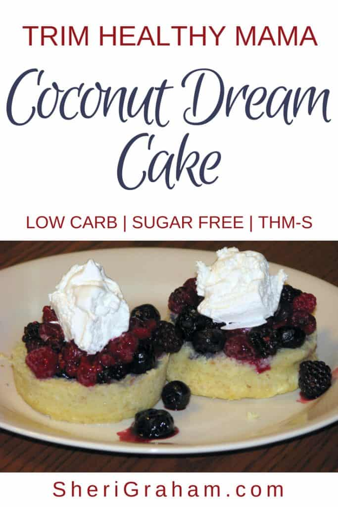 Coconut cake on a plate with berries