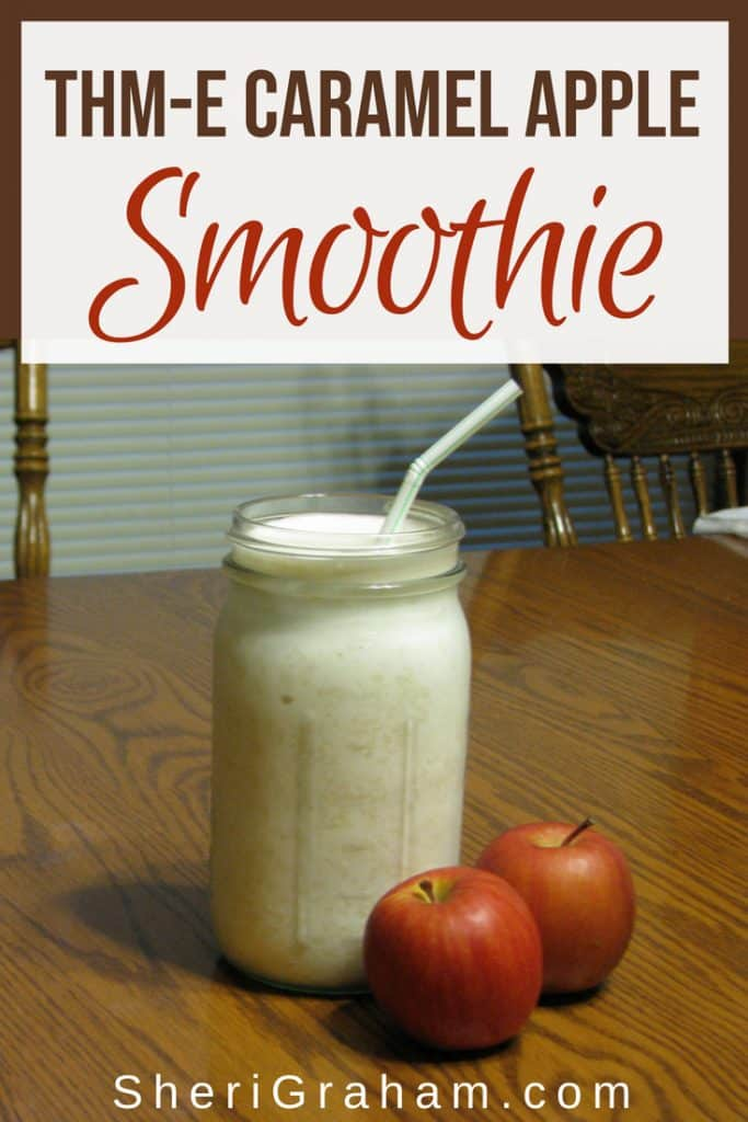 Caramel Apple Smoothie In Jar On Table