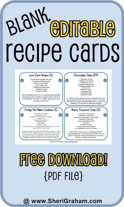 Blank Editable Recipe Cards      Card Versions Free Download