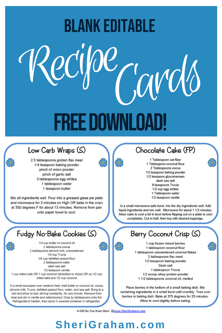 blank editable recipe cards - 1  2  u0026 4 card versions  free download