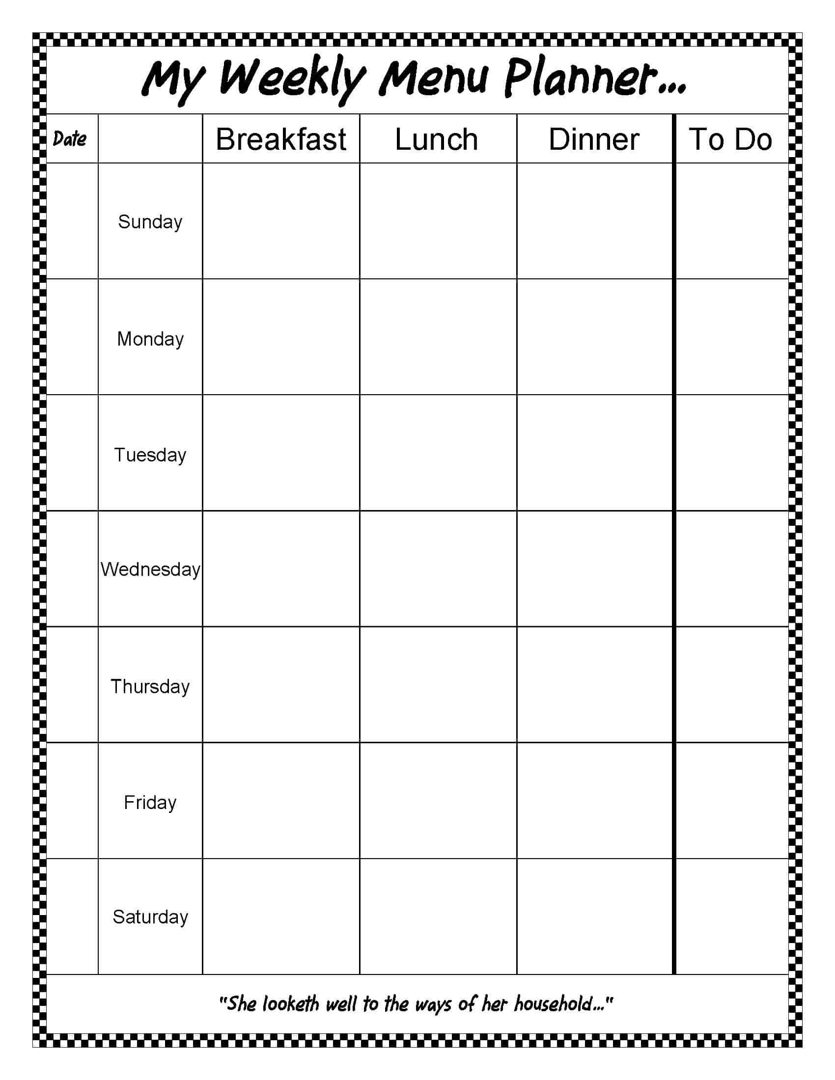 My Weekly Menu Planner {free}