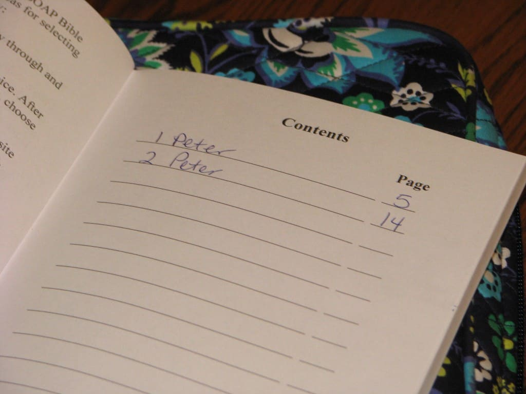 The Intentional Bible Study Journal - Contents Sample