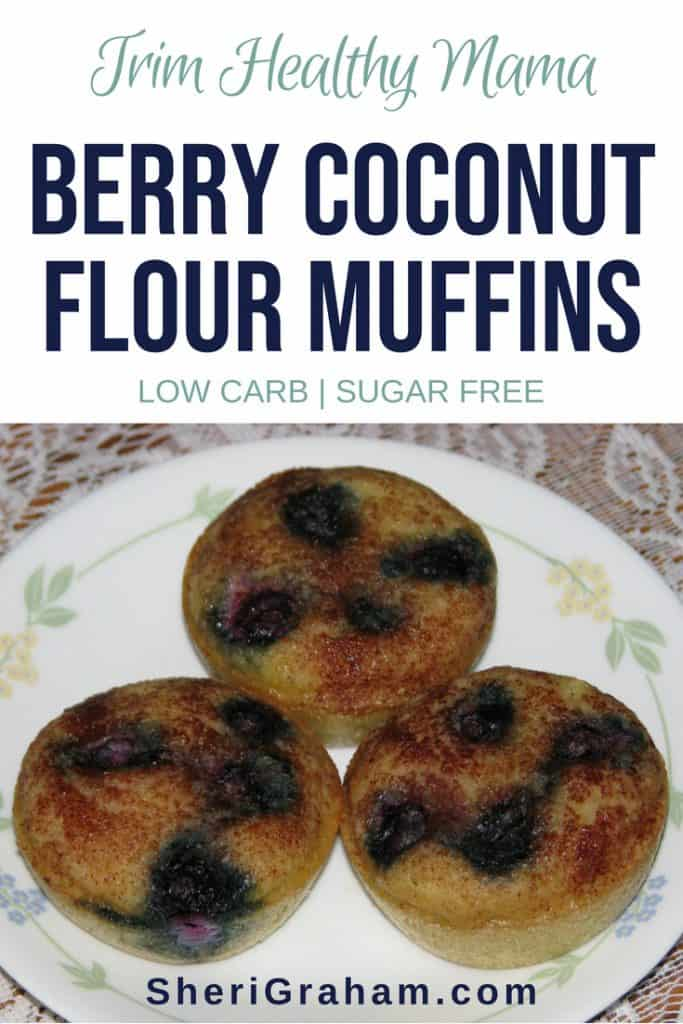 Berry Coconut Flour Muffins on a plate on the table.