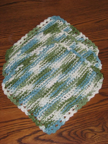 Crocheted Dishcloths (Set of 3) - Greens & Blues