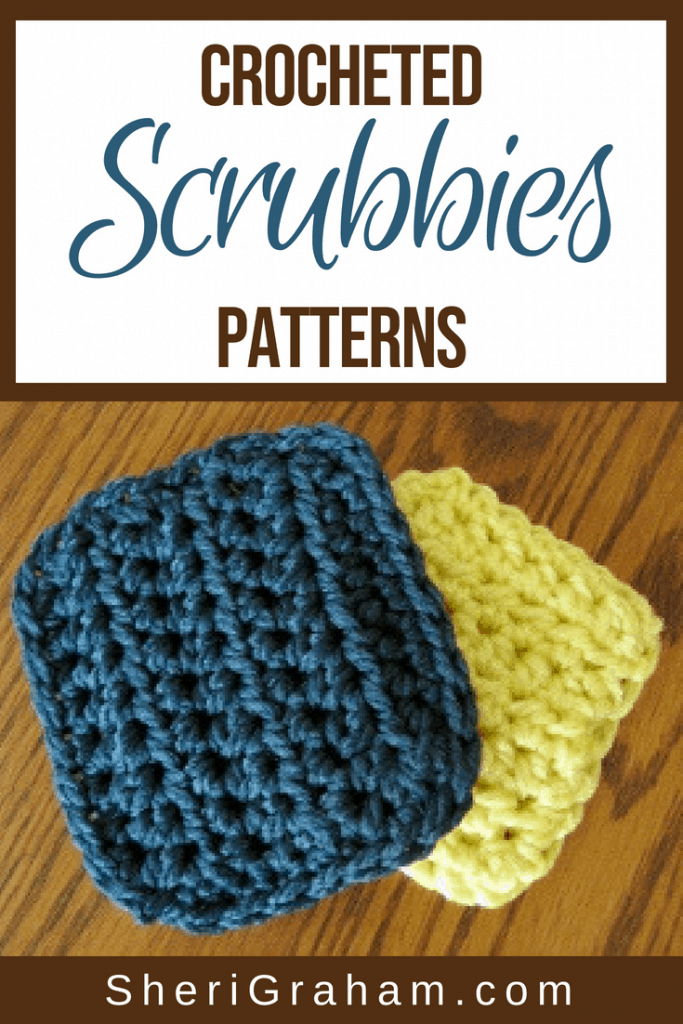 Two crocheted scrubbies on a table.